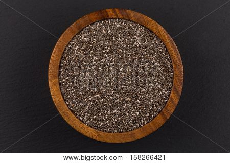 Chia Seeds In Wooden Bowl