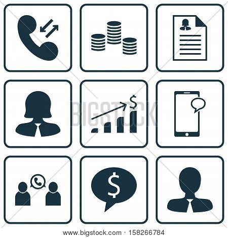 Set Of Human Resources Icons On Money, Business Woman And Successful Investment Topics. Editable Vec