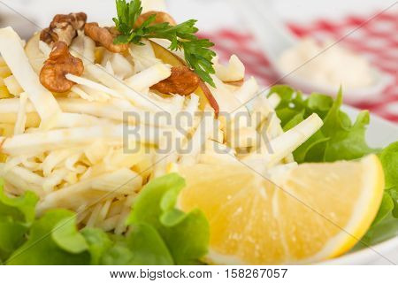 Delicious a la carte Waldorf salad with apples, celery and nuts, classic recipe, close-up