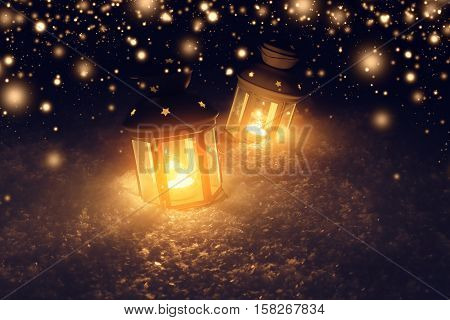 Decorative lights in snow at christmas night. Snowy xmas night. Christmas and New Year background with snowflakes.