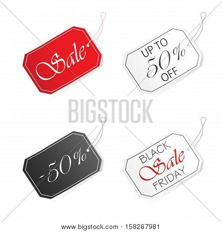 Set of Sale labels, isolated on white background, inscription black friday sale and discount 50% on tags, illustration.