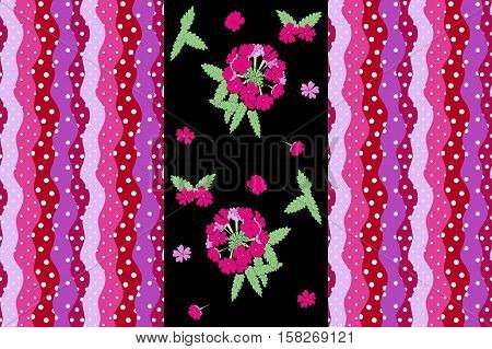 Cute endless pattern with flower verbena and bright striped border with wave and polka dot in color of petal flower verbena. Vector illustration. Packaging.