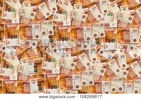 Russia money roubles banknotes, heap of russian rubles,
