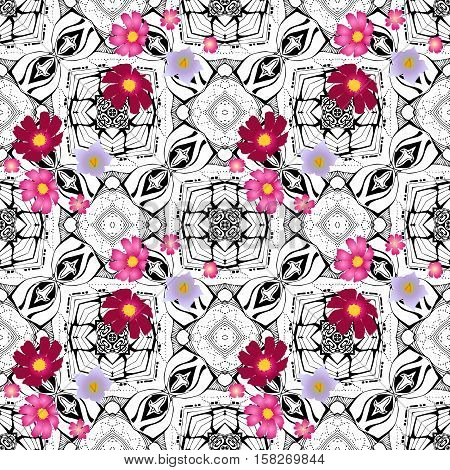 Abstract seamless vector pattern with cosmos, verbena and potato flowers on geometric black and white background.