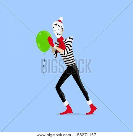 Mime Performance Pushing Balloon
