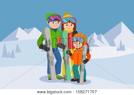 Happy family , Man, woman, boy skiing in snow mountains