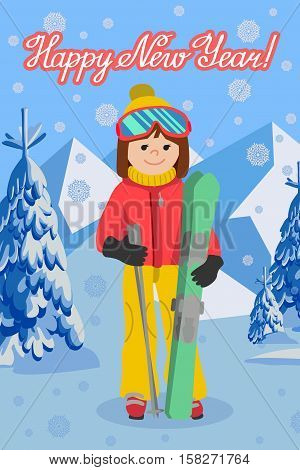 Flat design vector illustration. Congratulation card new year with young woman from the mountain by skiing equipped.