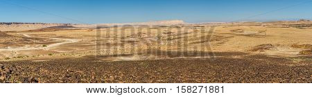 Desert landscape panorama of the Makhtesh Ramon nature reserve in Negev desert Israel