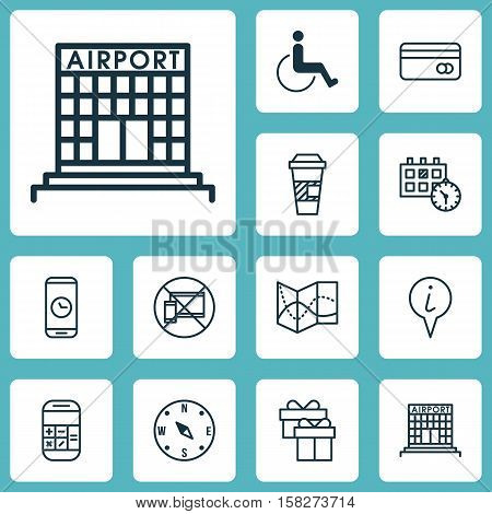 Set Of Travel Icons On Road Map, Appointment And Airport Construction Topics. Editable Vector Illust