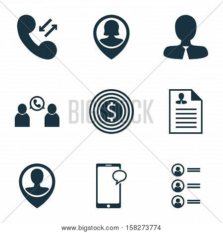 Set Of Human Resources Icons On Employee Location, Curriculum Vitae And Cellular Data Topics. Editab