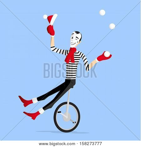 Winter Mime performing a pantomime called the juggler on a mono cycle