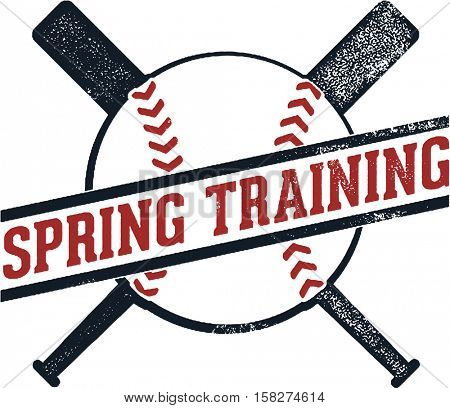 Vintage Spring Training Baseball Stamp Sign