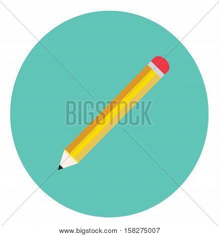 pencil icon circle blue school flat vector stock
