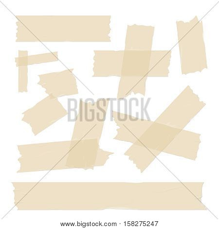 Scotch, adhesive tape pieces, different size sticky isolated on white vector set