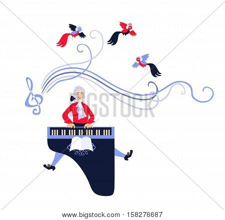 Mozart performed his music on the harpsichord. Cute cartoon vector illustration