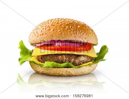 Hamburger on white background -Clipping Path