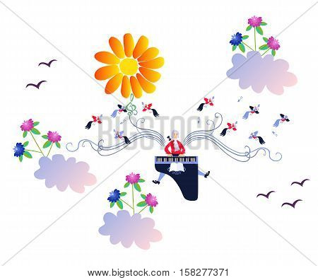 Solar Mozart. Fairy tale. Creative vector illustration.