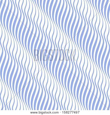 Vertical seamless striped wave pattern in blue and white tones. Vector illustration.
