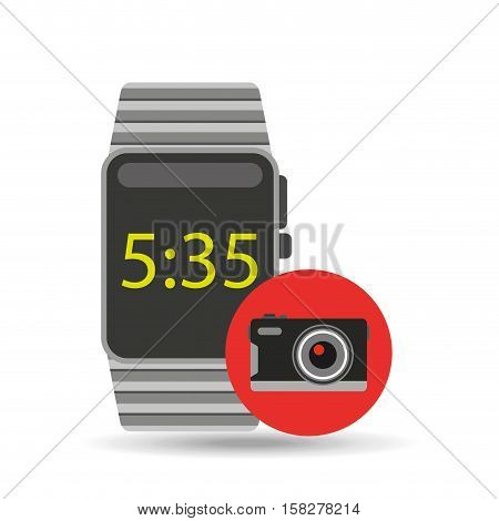 smart watch technology with photographic camera vector illstration eps 10