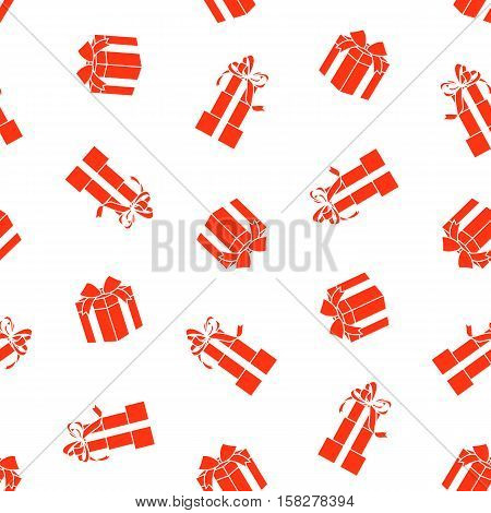 Stock vector seamless pattern with red gift boxes isolated