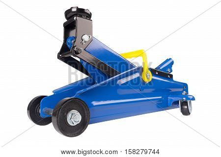 Hydraulic floor jack isolated on white background. Hydraulic car jack to lift car for change the wheel.
