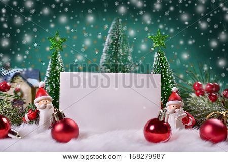 beautiful christmas greeting card with winter scene and space for own text