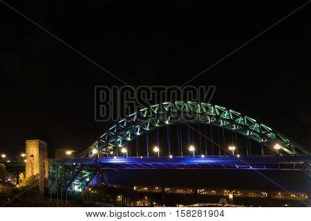 Tyne Bridge Over River Tyne, Newcastle, England, At Night