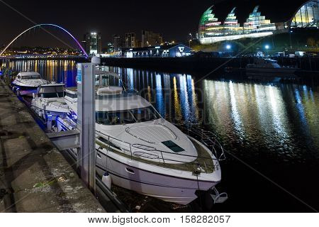 Night-time Photograph Of Newcastle And Gateshead Quayside, England