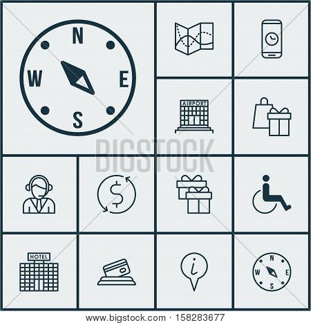 Set Of Airport Icons On Hotel Construction, Info Pointer And Airport Construction Topics. Editable V