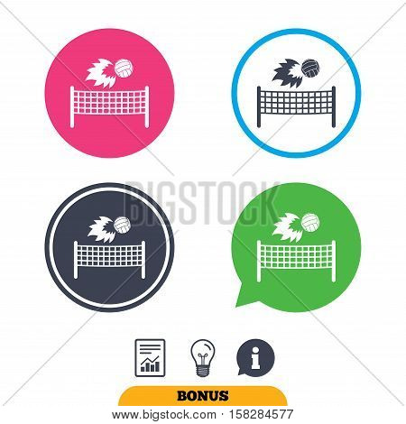 Volleyball net with fireball sign icon. Beach sport symbol. Report document, information sign and light bulb icons. Vector