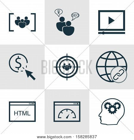 Set Of Marketing Icons On Brain Process, Focus Group And Video Player Topics. Editable Vector Illust