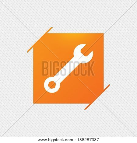 Wrench key sign icon. Service tool symbol. Orange square label on pattern. Vector