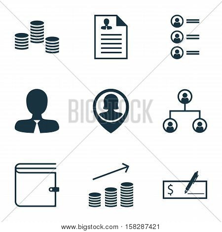 Set Of Hr Icons On Coins Growth, Money And Manager Topics. Editable Vector Illustration. Includes Us