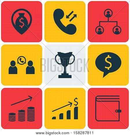 Set Of Hr Icons On Cellular Data, Coins Growth And Business Deal Topics. Editable Vector Illustratio