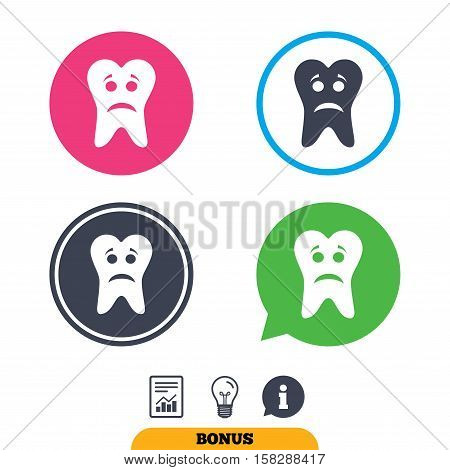 Tooth sad face sign icon. Aching tooth symbol. Unhealthy teeth. Report document, information sign and light bulb icons. Vector
