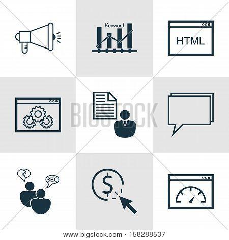 Set Of Advertising Icons On Coding, Conference And Ppc Topics. Editable Vector Illustration. Include