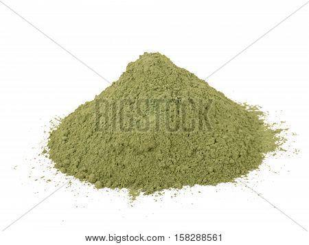 Indigo indigofera tinctoria powder pile isolated on white