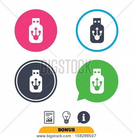 Usb sign icon. Usb flash drive stick symbol. Report document, information sign and light bulb icons. Vector