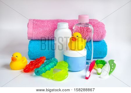 baby accessories for bath with duck on white background.