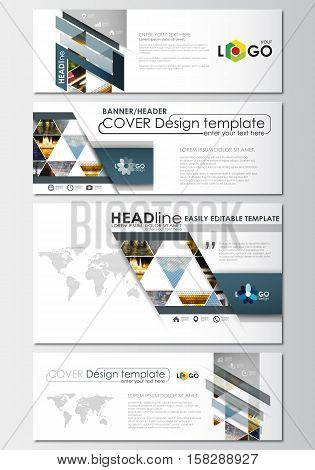 Social media and email headers set, modern banners. Business templates. Cover design template, easy editable, abstract flat layout in popular sizes. Abstract multicolored background of nature landscapes, geometric triangular style, vector illustration