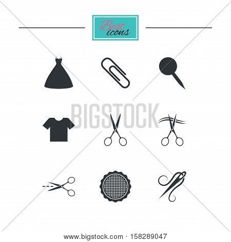 Tailor, sewing and embroidery icons. Scissors, safety pin and needle signs. Shirt and dress symbols. Black flat icons. Classic design. Vector