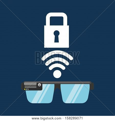 glasses technology padlock application media vector illustration eps 10