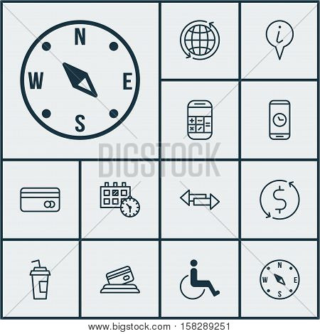 Set Of Traveling Icons On Drink Cup, Locate And Accessibility Topics. Editable Vector Illustration.