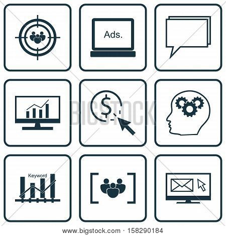 Set Of Seo Icons On Conference, Questionnaire And Keyword Optimisation Topics. Editable Vector Illus