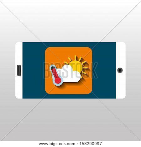 white smartphone weather network digital vector illustration eps 10