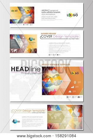 Social media and email headers set, modern banners. Business templates. Cover design template, easy editable, abstract flat layout in popular sizes. Abstract colorful triangle design vector background with polygonal molecules.