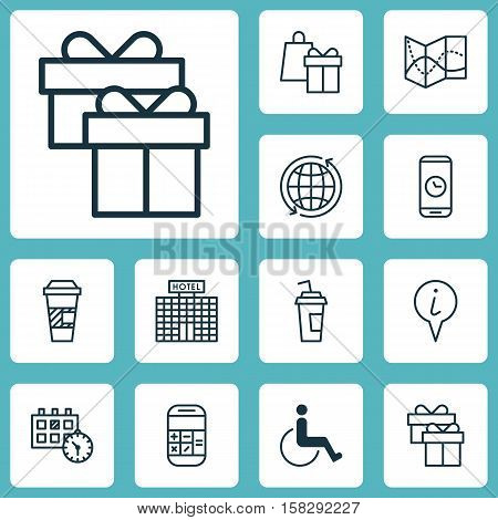 Set Of Airport Icons On Calculation, Appointment And Shopping Topics. Editable Vector Illustration.