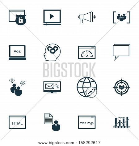 Set Of Advertising Icons On Media Campaign, Newsletter And Focus Group Topics. Editable Vector Illus
