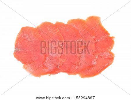 Smoked wild pacific sockeye salmon isolated on white background