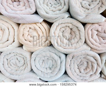 closeup clean spa towel rolls for background